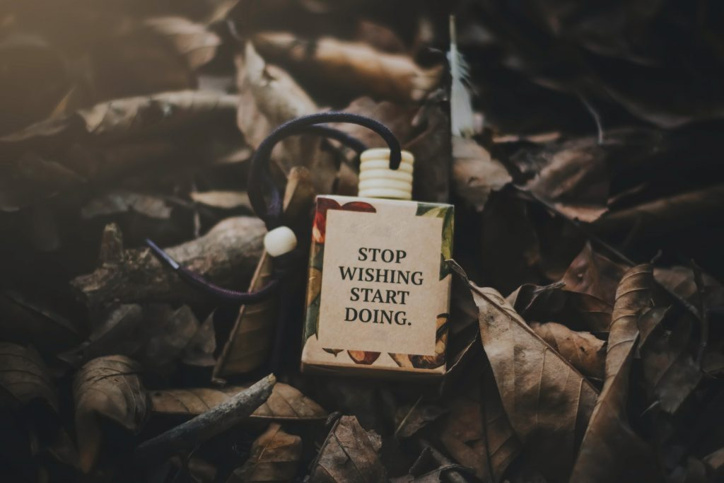 picture with sentence stop wishing start doing