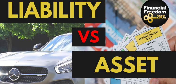 assets vs liabilities personal finance thumbnail containing car and monopoly share card